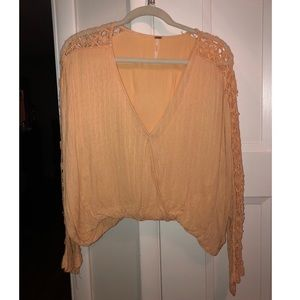 Free People Peach Wrap Top